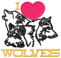 I Love Wolves embroidery design