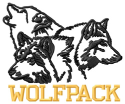 Wolfpack embroidery design