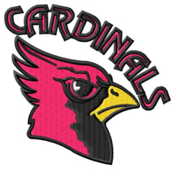 Cardinals Mascot embroidery design
