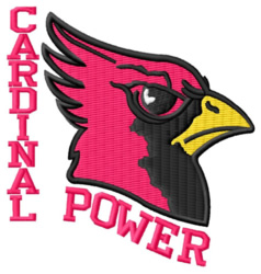 Cardinal Power embroidery design