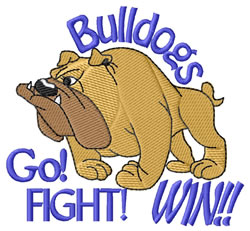 Bulldogs Go Fight Win embroidery design