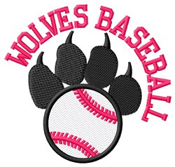 Wolves Baseball embroidery design