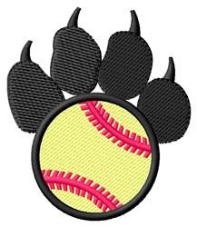 Softball Pawprint embroidery design