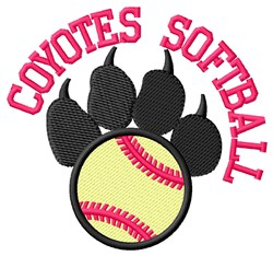 Coyotes Softball embroidery design