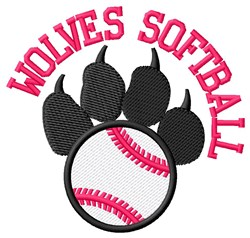 Wolves Softball embroidery design