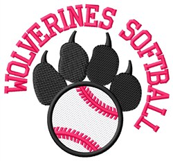 Wolverines Softball embroidery design