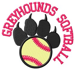 Greyhounds Softball embroidery design