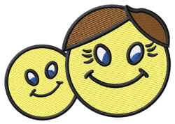 Father and Son Smiley embroidery design