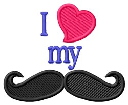 I Heart My Moustache embroidery design