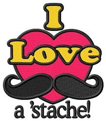 I Love astache embroidery design