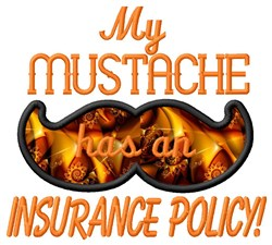 Mustache Insurance Policy embroidery design
