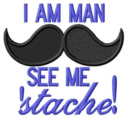 See Me Stache embroidery design
