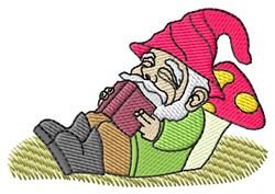 Gnome Reading embroidery design