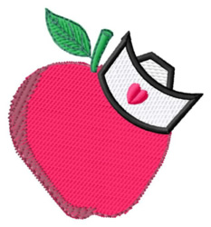 Apple with Cap embroidery design
