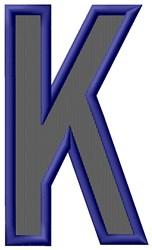 Plain Letter K embroidery design