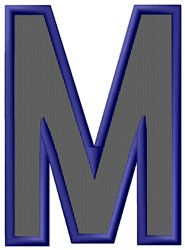 Plain Letter M embroidery design