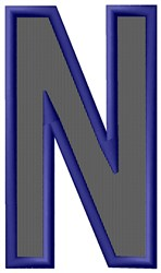 Plain Letter N embroidery design