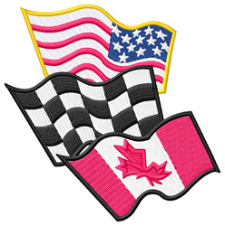 Canadian, American, and Racing Flags embroidery design