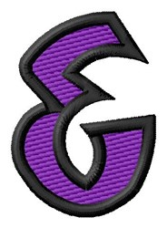 Pointed Purple Ampersand embroidery design
