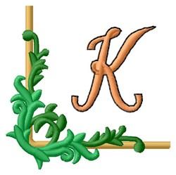 Vining Corner K embroidery design
