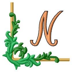 Corner Monogram N embroidery design