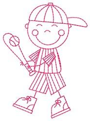 Batter Kid embroidery design