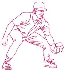 Baseball Fielder embroidery design