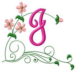 Floral Monogram J embroidery design