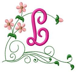 Floral Monogram L embroidery design