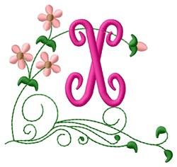 Floral Monogram X embroidery design