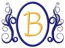 Oval Swirl Monogram B embroidery design