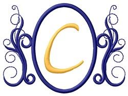 Oval Swirl Monogram C embroidery design