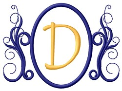 Oval Swirl Monogram D embroidery design