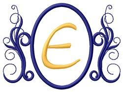 Oval Swirl Monogram E embroidery design