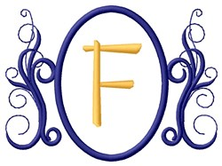 Oval Swirl Monogram F embroidery design