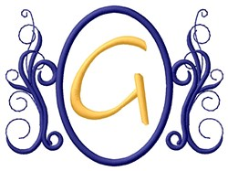 Oval Swirl Monogram G embroidery design