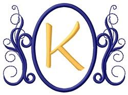 Oval Swirl Monogram K embroidery design