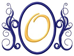 Oval Swirl Monogram O embroidery design
