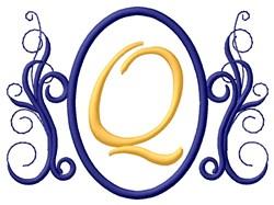 Oval Swirl Monogram Q embroidery design