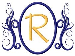 Oval Swirl Monogram R embroidery design