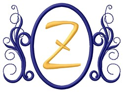Oval Swirl Monogram Z embroidery design