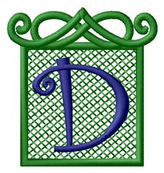 Embossed Square D embroidery design