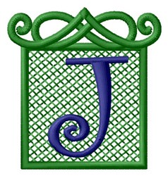 Embossed Square J embroidery design