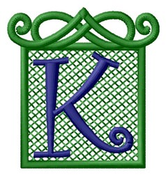Embossed Square K embroidery design