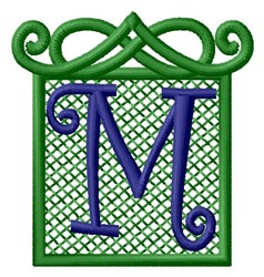 Embossed Square M embroidery design