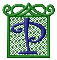 Embossed Square P embroidery design