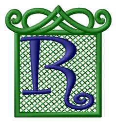 Embossed Square R embroidery design