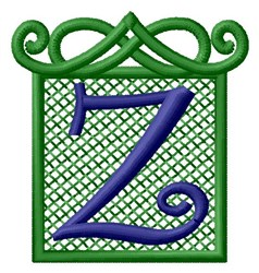 Embossed Square Z embroidery design