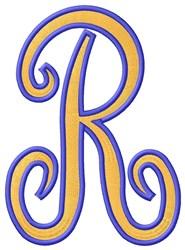 Tall Script 2 R embroidery design