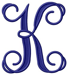 Vining Monogram K embroidery design